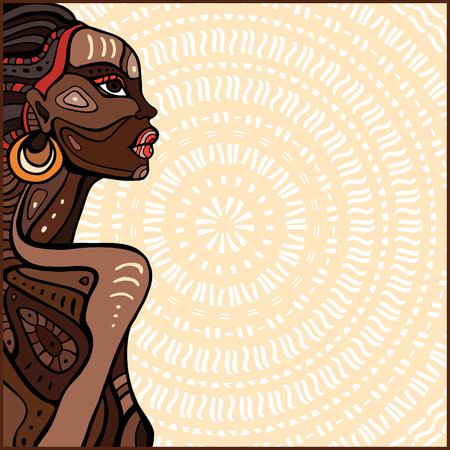 african woman face: Profile of beautiful African woman. Hand drawn ethnic illustration. Illustration