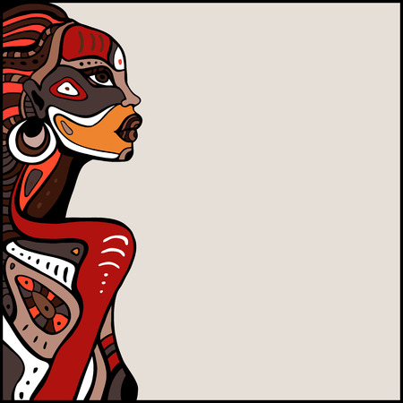 Profile of beautiful African woman. Hand drawn ethnic illustration. Иллюстрация