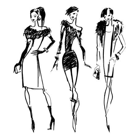 woman in fur coat: Silhouettes of Beautiful Women. Hand drawn ink Fashion illustration. Illustration