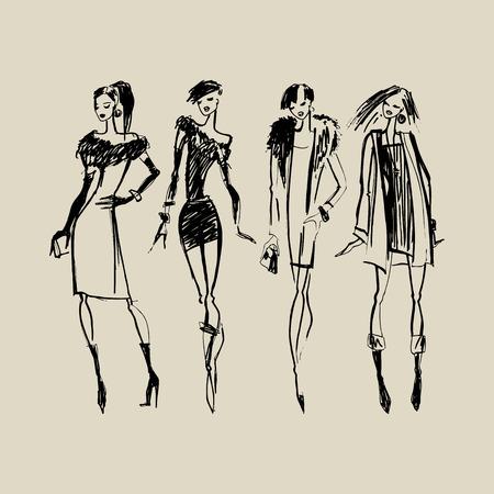 時尚: 美女剪影。手工繪製墨時尚插畫。