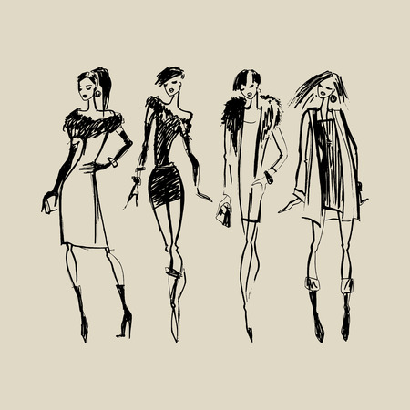 moda ropa: Siluetas de mujeres hermosas. Dibujado a mano ilustración de moda de tinta.