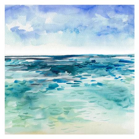 수채화 바다 배경입니다. 손 그림을 그려. 여름 해양 풍경.
