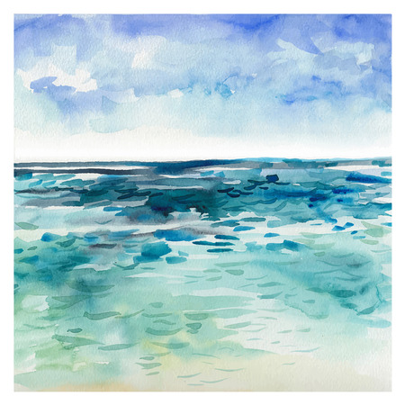 Watercolor Sea background. Hand drawn painting. Summer marine landscape.