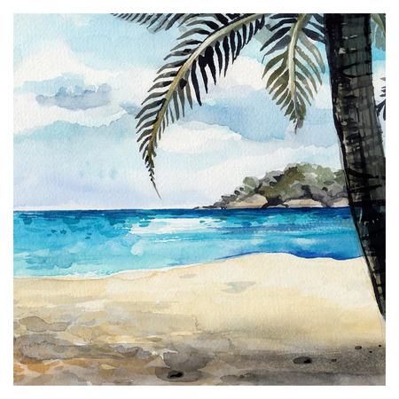 Sfondo Acquerello Sea. Disegno a mano di pittura. Estate paesaggio marino.