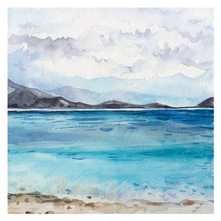 風景: 水彩海的背景。手工繪製的畫。夏季海洋景觀。