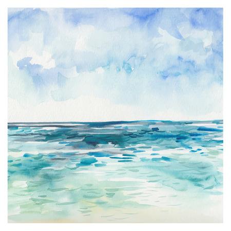 Aquarell Meer Hintergrund. Hand gezeichnet Malerei. Sommer-Meereslandschaft. Standard-Bild - 42585660