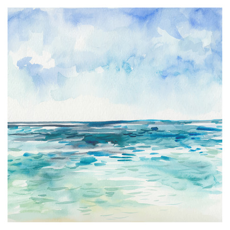 watercolor splash: Watercolor Sea background. Hand drawn painting. Summer marine landscape.