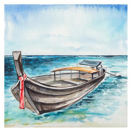 shoreline: Watercolor Sea background. Hand drawn painting. Summer marine landscape.