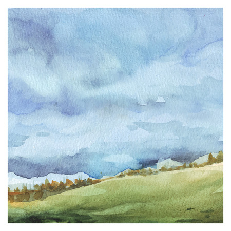 Watercolor Nature background. Field and forest, summer landscape. Hand drawn painting. Vettoriali