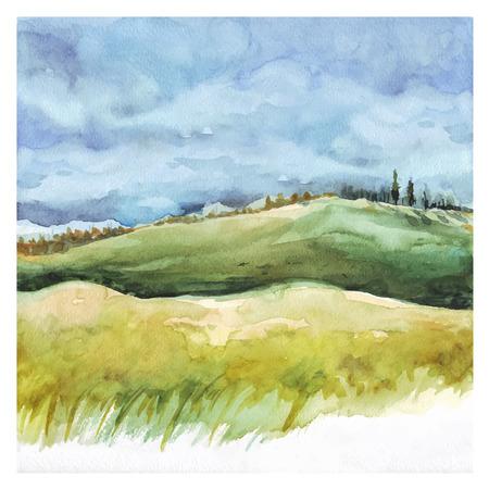 수채화 자연 배경입니다. 필드와 숲, 여름 풍경입니다. 손 그림을 그려.