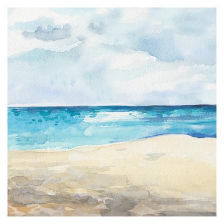 Aquarel Sea achtergrond. Hand getrokken schilderen. Zomer zee landschap. Stock Illustratie
