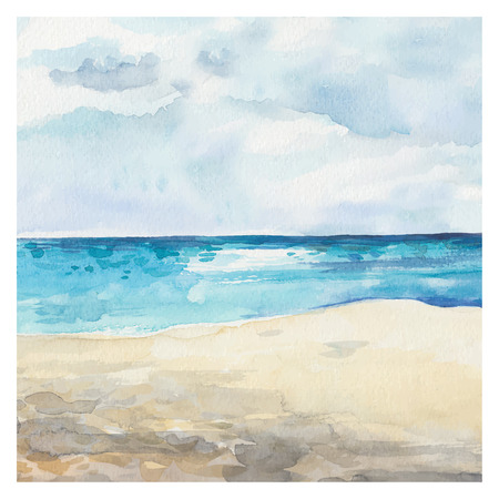 blue ocean: Watercolor Sea background. Hand drawn painting. Summer marine landscape.