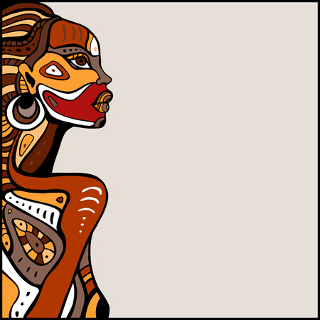아름다운 아프리카 여자의 프로필. 손 민족으로 그린 그림. 일러스트