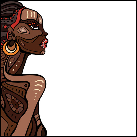 Profile of beautiful African woman. Hand drawn ethnic illustration. 矢量图像