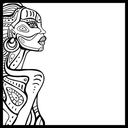 美しいアフリカ女性のプロフィール。手には、民族のイラストが描かれました。