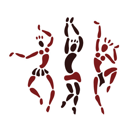 figuras abstractas: Las figuras de bailarines africanos. Gente silueta conjunto. El arte primitivo. Ilustración del vector. Vectores