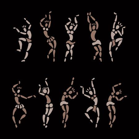 bailarines silueta: Las figuras de bailarines africanos. Gente silueta conjunto. El arte primitivo. Ilustración del vector. Vectores