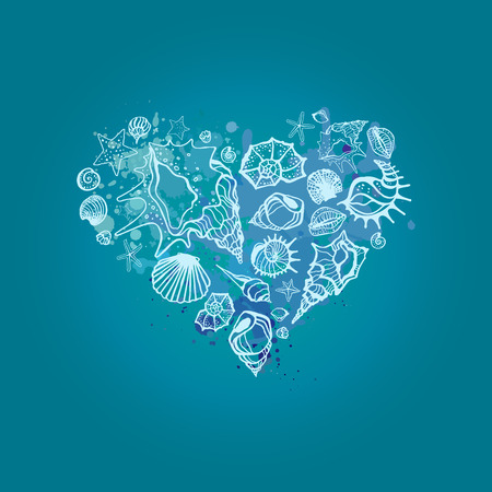 estrella de la vida: Corazón de conchas marinas. Seashells mano ilustración vectorial dibujado