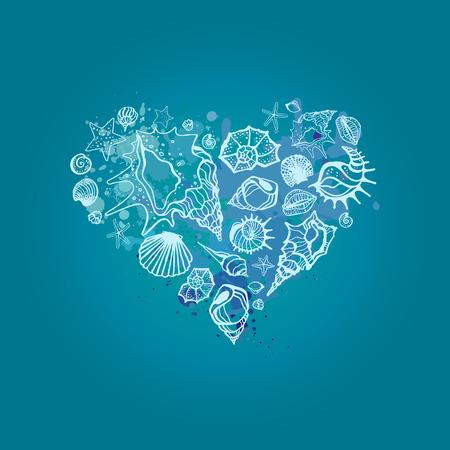 valentines: Heart of Sea shells. Seashells Hand drawn vector illustration
