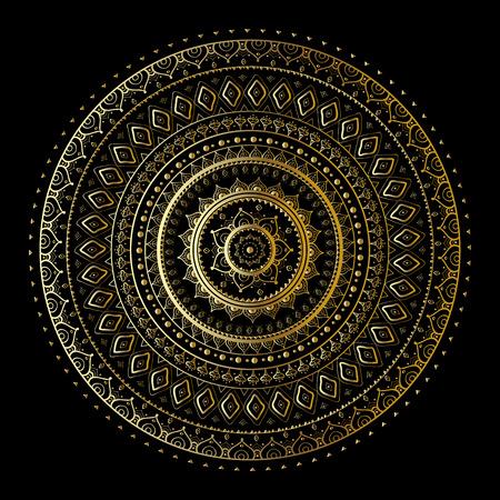 mandala flower: Gold mandala on black background. Ethnic vintage pattern. Illustration