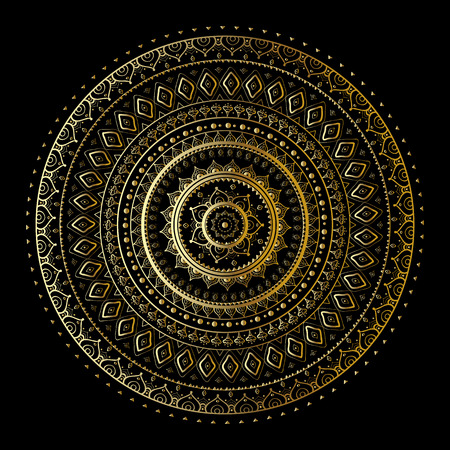 Gold mandala on black background. Ethnic vintage pattern. Stock Illustratie