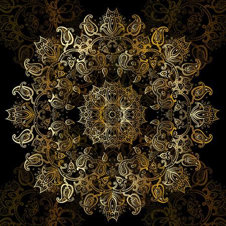 Gold mandala on black background. Ethnic vintage pattern. Çizim