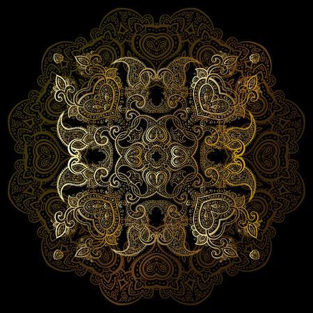 tantra: Gold mandala on black background. Ethnic vintage pattern. Illustration