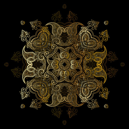 Gold mandala on black background. Ethnic vintage pattern. 向量圖像