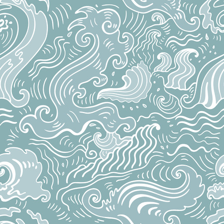 Sea waves pattern. Seamless Wave background - textile, wallpaper design, pattern fills, web page backgrounds, surface textures.