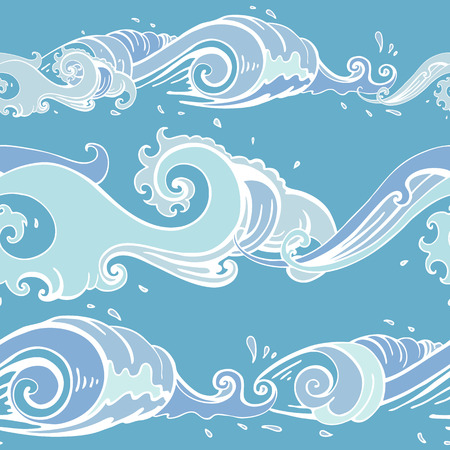 Sea waves. Hand drawn Seamless vector pattern Sea background. Vettoriali