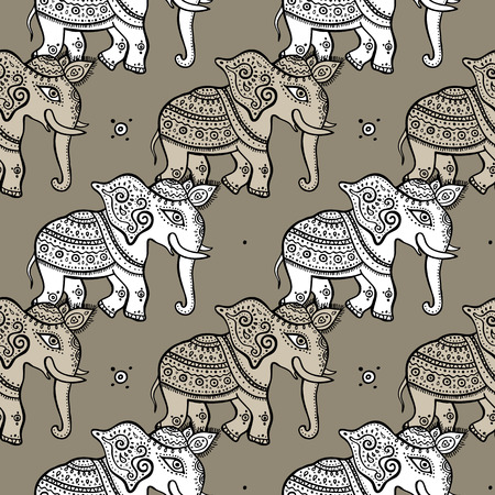 reise retro: Elephants. Ethnischen nahtlose Hintergrund Hand gezeichnet Vektor-Muster Lizenzfreie Bilder