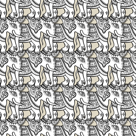 decorative element: Elephants. Ethnic seamless background Hand drawn Vector pattern