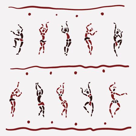 simbolo uomo donna: Figure di ballerini africani. Persone silhouette set. L'arte primitiva. Illustrazione vettoriale. Vettoriali