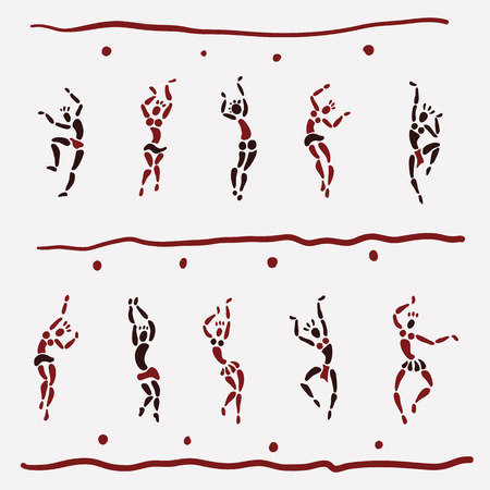 bailarin hombre: Las figuras de bailarines africanos. Gente silueta conjunto. El arte primitivo. Ilustración del vector. Vectores