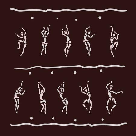 gente bailando: Las figuras de bailarines africanos. Gente silueta conjunto. El arte primitivo. Ilustración del vector. Vectores