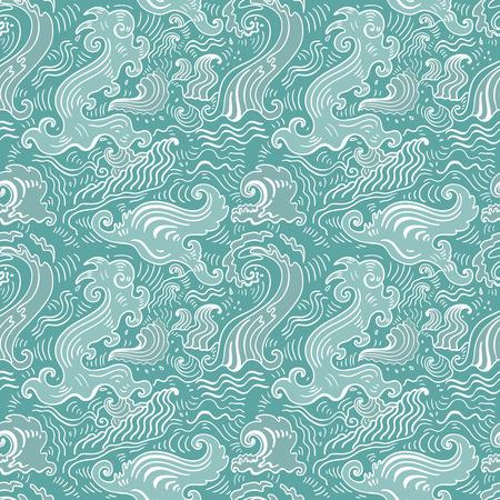海の波のパターン。シームレスな波の背景 - テキスタイル、壁紙デザイン、パターンの塗りつぶし、表面テクスチャの web ページの背景。