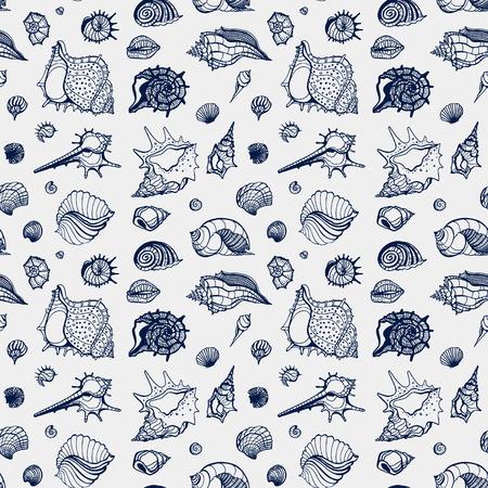 oceanic: Seamless pattern of Sea shells. Hand drawn vector illustration