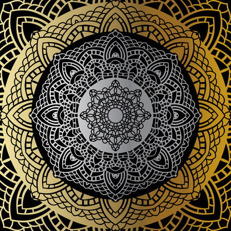tantra: Gold mandala on black background. Ethnic vintage pattern. Illustration