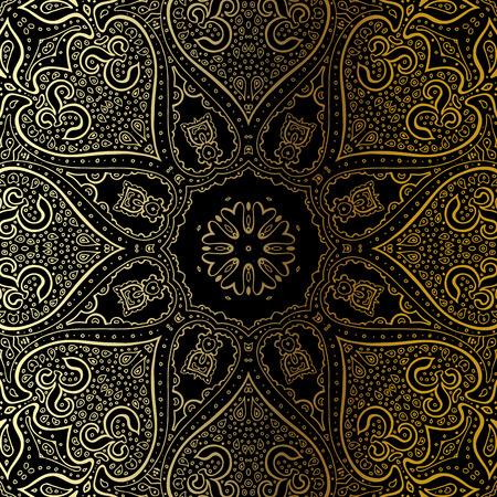 black and gold: Gold mandala on black background. Ethnic vintage pattern. Illustration