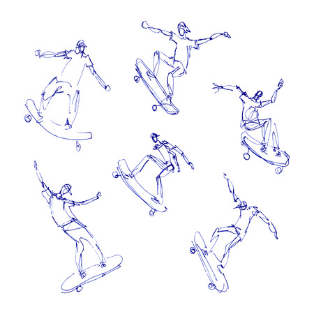 blue pen: Skaters men. Sketches blue pen set. Hand drawn vector illustration.