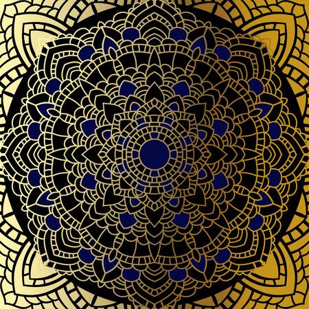 luck: Vector vintage background. Mandala Indian decorative pattern.