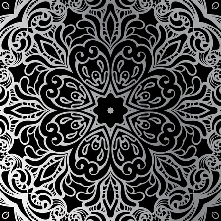 silver texture: Silver mandala on black background. Indian pattern