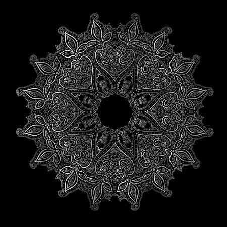black fabric: Silver mandala on black background. Indian pattern