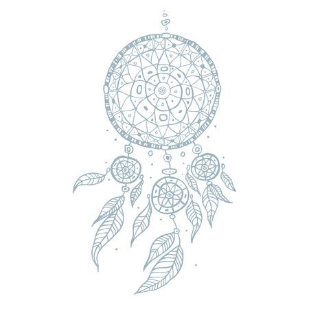 fashion illustration: Dream Catcher Hand drawn detailed vector illustration. Illustration