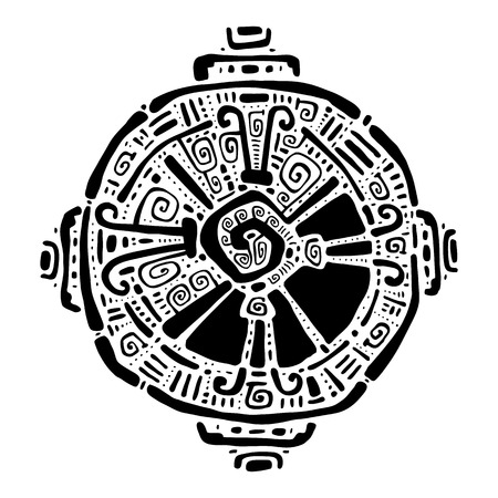 symbol decorative: Hunab Ku  Mayan symbol. Hand Drawn detailed pattern.