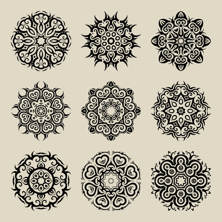 circular: Mandala set. Circular ornament on black background. Ethnic vintage pattern collection.