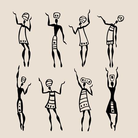 black people: Figures of african dancers. People silhouette set. Vector  Illustration.