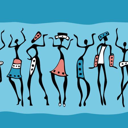 African dance: Las figuras de bailarines africanos. Ilustraci�n vectorial sin fisuras. Vectores