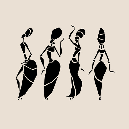 Figures of african dancers. Dancing woman in ethnic style. Vector  Illustration. Çizim
