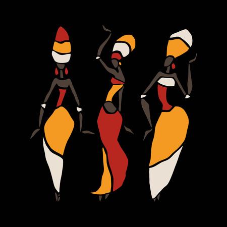 Les chiffres de danseurs africains. Danse femme dans un style ethnique. Vector Illustration. Banque d'images - 42793844